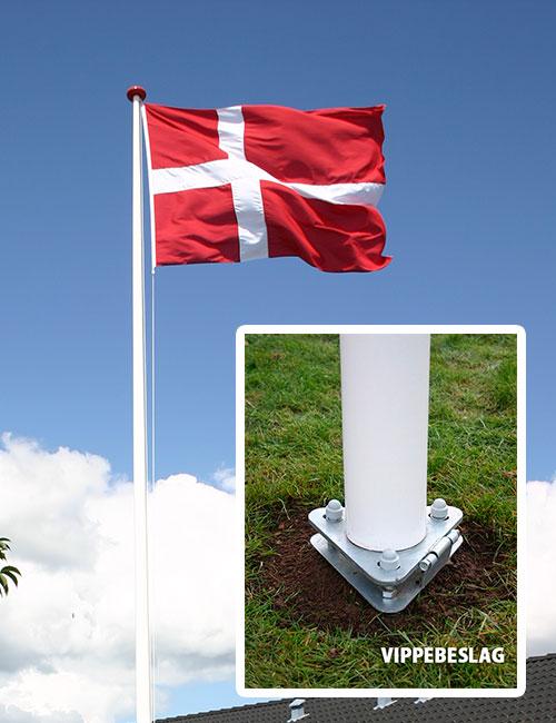 Flagstang med vippebeslag inkl. vimpel og dannebrogsflag